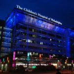 Photo of Children's Hospital of Philadelphia with large lit Channel Letters on top