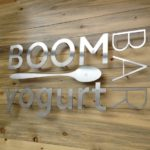 Boom Yogurt Bar sign with Metal cut out letters and spoon