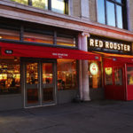 fabric awnings and a winter vestibule outside Red Rooster