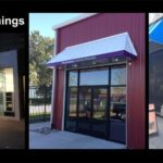 tri- photo collage of entrance awnings