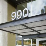 structural canopy for office suite with number 990
