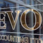 "Window lettering for office ""EVO accounting Ltd"""