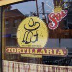 "window lettering and graphic ""Tortillaria"" for mexican kitchen"
