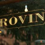 "window lettering in gold with graphics ""Provini"""