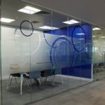 privacy frosting on window panels for office meeting room